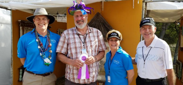 Philippe Jeck, Honorary Chair of ArtiGras, Best of Show winner Michael Paul Cole, Beth Kigel, President & CEO of the Palm Beach North Chamber of Commerce, and Severe Weather Expert at WPBF Mike Lyons.